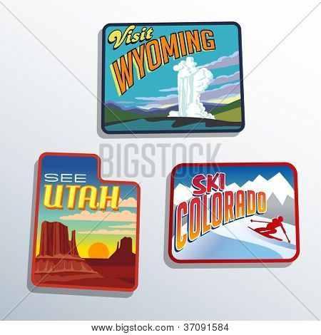 Western United States Utah Colorado Wyoming vector illustrations designs