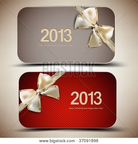 Collection of gift cards with ribbons. 2013