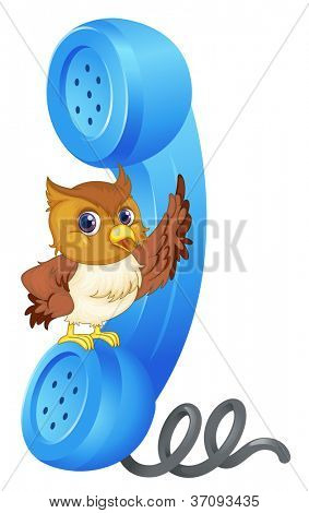 illustration of owl and phone receiver on a white background