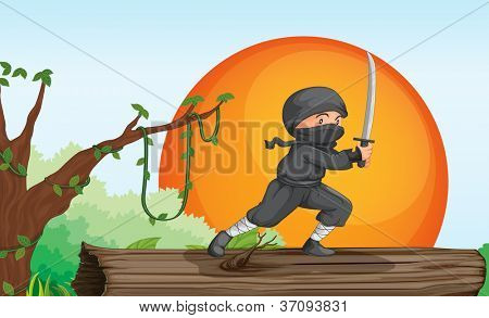 illustration of a thief in a beautiful nature