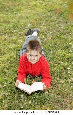 Boy Reading Book On Grass