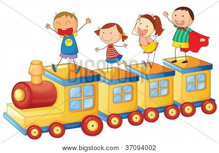 illustration of a kids on a train on white background