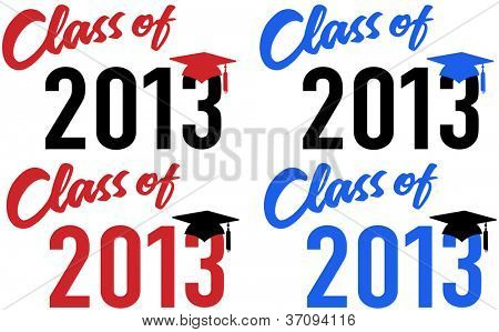 Class of 2013 graduation celebration announcement caps in red and blue school colors