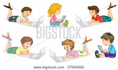 llustration of a kids with laptop on a white background