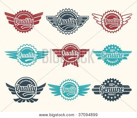 Set of retro vintage quality badge icons for labels, packaging, web and print