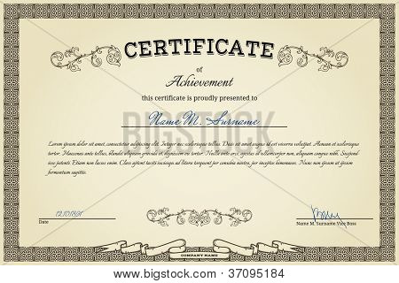 Vintage certificate on gradient beige background