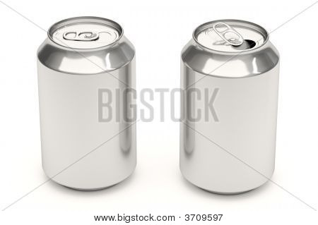 Soda Cans On White