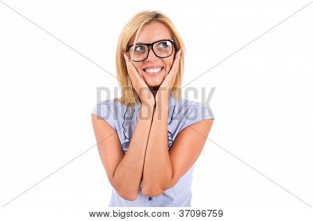 Isolated Young Business Woman Looking Excited