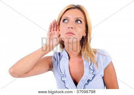 Isolated Young Business Woman Listening