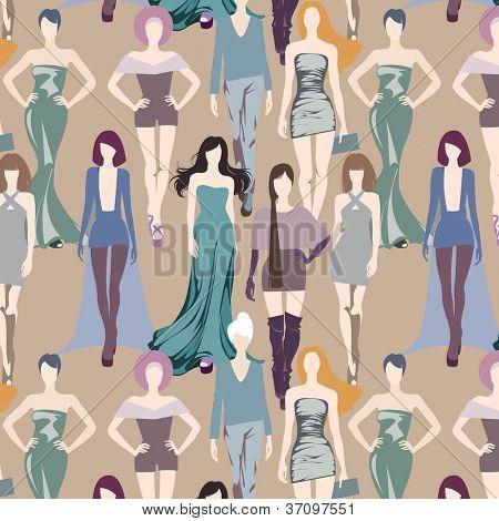 seamless elegant background with catwalk models