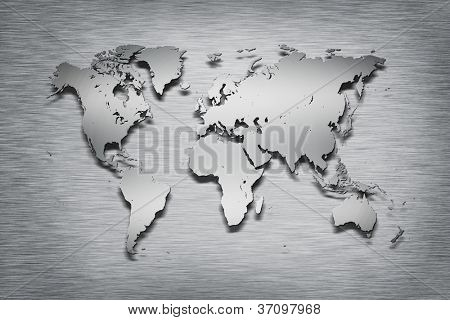 Metal World Map on metal background