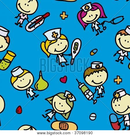 Seamless background of doodle happy children with medical tools plays hospital