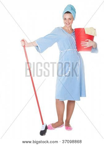 The image of girl with a red mop