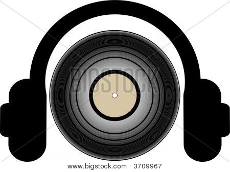 Headphones With Record Lp.
