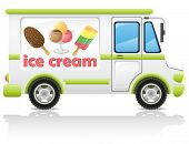 pic of ice-cream truck  - car carrying ice cream vector illustration isolated on white background - JPG
