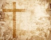 stock photo of salvation  - Christianity representation with the symbol of a cross on parchment - JPG