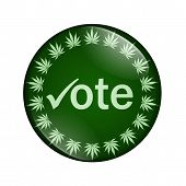 pic of marijuana leaf  - A green button marijuana leafs and word vote isolated on a white background Vote to legalize marijuana button - JPG