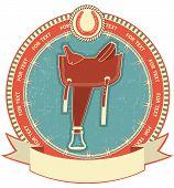 stock photo of western saddle  - Western saddle on label background isolated on white - JPG