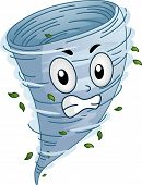 stock photo of hurricane clips  - Mascot Illustration of a an Angry Tornado Whirling Around - JPG