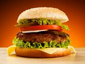 stock photo of hamburger-steak  - Big hamburger - JPG