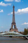 Eifel Tower And Railway Bridge In Paris poster
