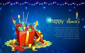 stock photo of diwali  - illustration of colorful firecracker in gift box for Diwali - JPG