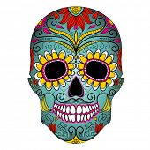 stock photo of skull bones  - Day of The Dead colorful Skull with floral ornament - JPG