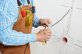 Close-up of electrician worker hands at wiring cable and light switch or power wall outlet socket in