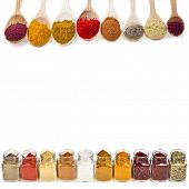 image of condiment  - border frame of colorful powder spices with copy space for text isolated on a white background - JPG