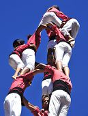 TARRAGONA, SPAIN - SEP 16: Castells on Sep 16, 2012 in Tarragona, Spain. Every year, during Santa Te