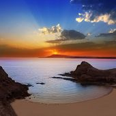 image of papagayo  - Lanzarote Playa Papagayo beach sunset in Canary islands  - JPG