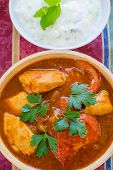 picture of raita  - Chicken Rogan Josh with  cucumber - JPG