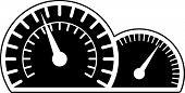 stock photo of mile  - speedometer and tachometer car instruments symbol - JPG