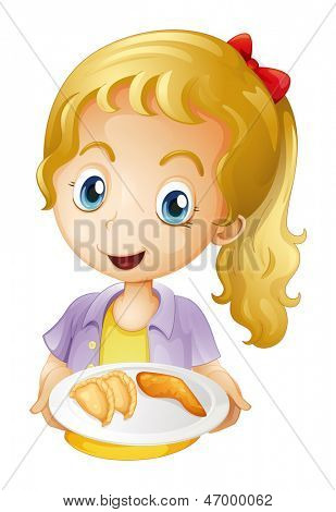 Illustration of a girl holding a plate with foods on a white background