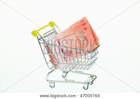 Malaysian Ringgit In Shopping Trolley