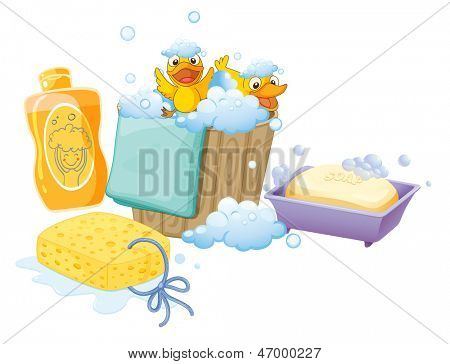 Illustration of the things inside the bathroom on a white background