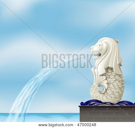 Illustration of a statue of a merlion