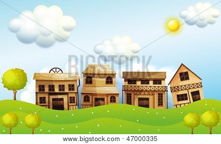 Illustration of the four different kinds of wooden house