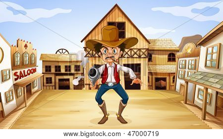 Illustration of an armed man near the saloon