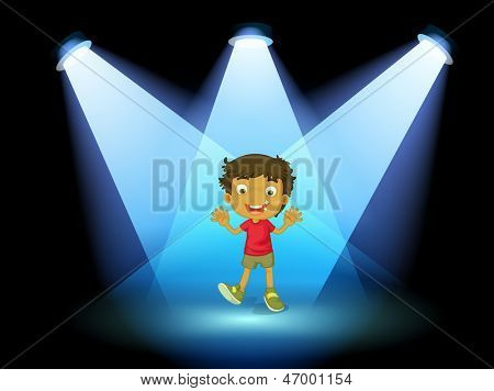 Illustration of a little kid at the center of the stage