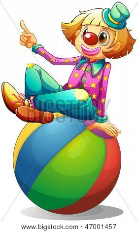 Illustratio of a clown sitting on a ball on a white background
