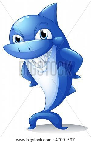Illustration of a big blue shark on a white background