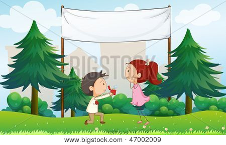 Illustration of a marriage proposal below the empty signage