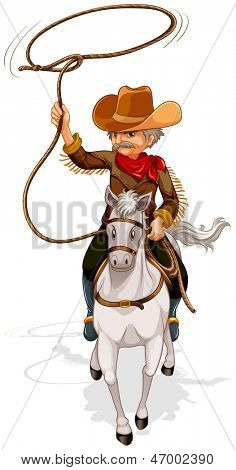 Illustration of a cowboy riding a horse while holding a rope on a white background