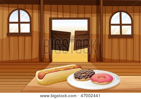 Illustration of a saloon bar with foods in the table