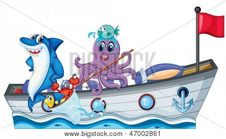 Illustration of the sea creatures riding on a boat with flag on a white background
