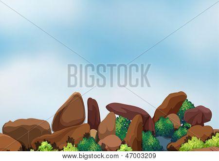 Illustration of the big rock formation