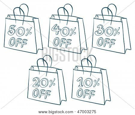 Illustration of the paper bags with discounts on a white background