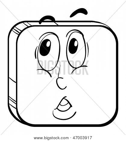 Illustration of a face in a square on a white background