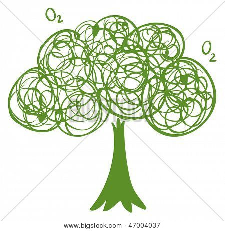 Illustration of a drawing of a green tree on a white background